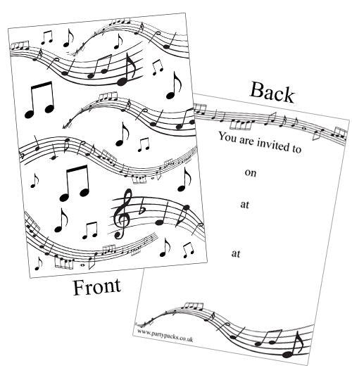Musical Notes Invites - Pack of 8
