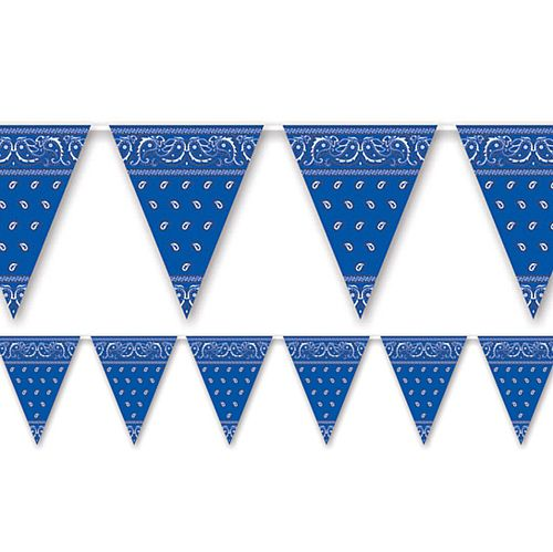 Blue Bandana Plastic Bunting - All Weather - 3.66m