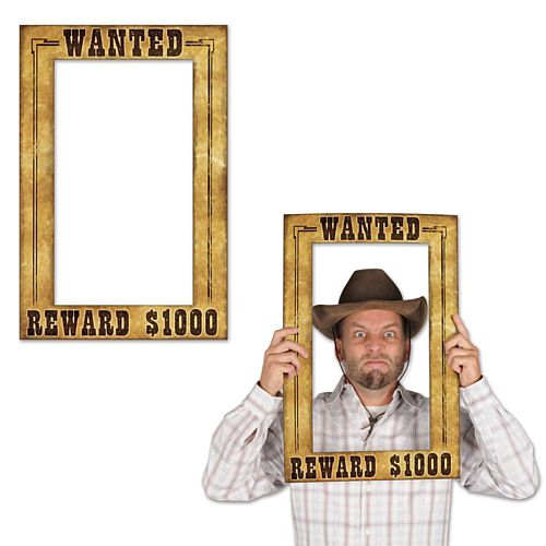 Western Wanted Photo Fun Frame Stand-In - 59.7cm