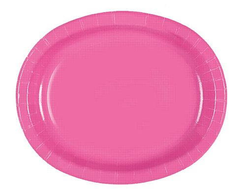 "Hot Pink Oval Shaped Paper Plates - 12"" - Pack of 8"