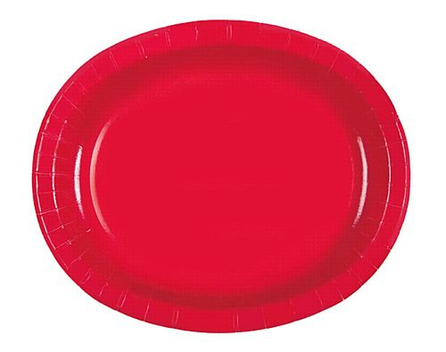 "Red Oval Shaped Paper Plates - 12"" - Pack of 8"
