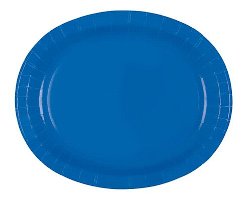 "Royal Blue Oval Shaped Paper Plates - 12"" - Pack of 8"