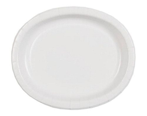 "White Oval Shaped Paper Plates - 12"" - Pack of 8"
