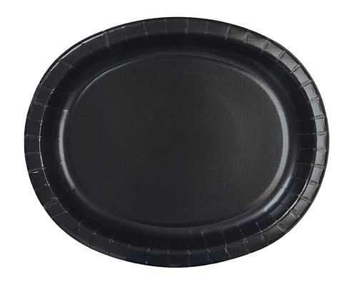 "Black Oval Shaped Paper Plates - 12"" - Pack of 8"