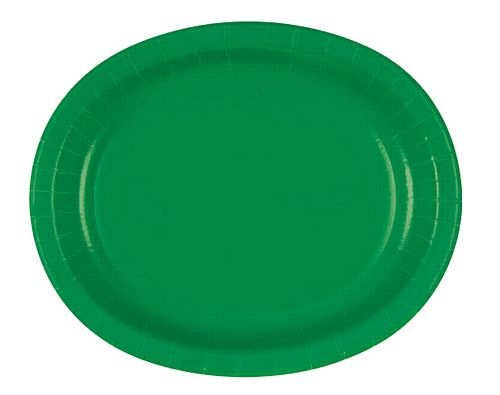 "Emerald Green Oval Shaped Paper Plates - 12"" - Pack of 8"