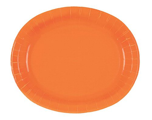 "Pumpkin Orange Oval Shaped Plates - 12"" - Pack of 8"