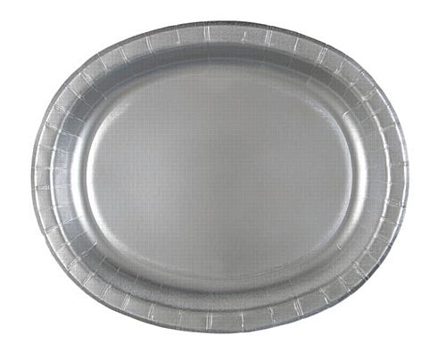 "Silver Oval Shaped Paper Plates - 12"" - Pack of 8"