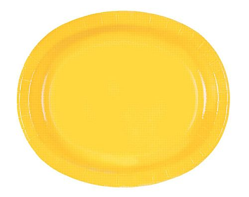 "Yellow Oval Shaped Paper Plates - 12"" - Pack of 8"