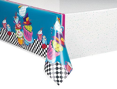 Mad Hatter Tea Party Plastic Tablecloth - 2.1m