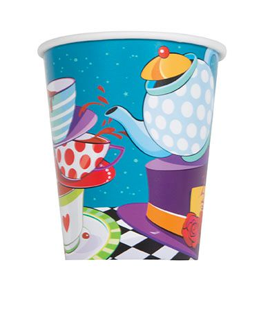 Mad Hatter Tea Party Paper Cups - 9oz - Pack of 8