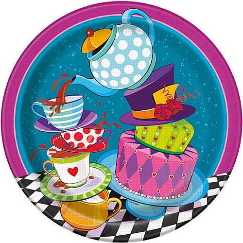 "Mad Hatter Tea Party Paper Plates - 9"" - Pack of 8"