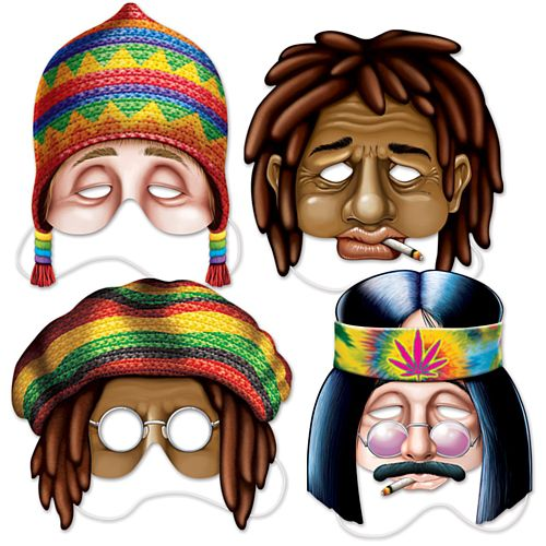 Hippie Masks - 29.8cm - Pack of 4
