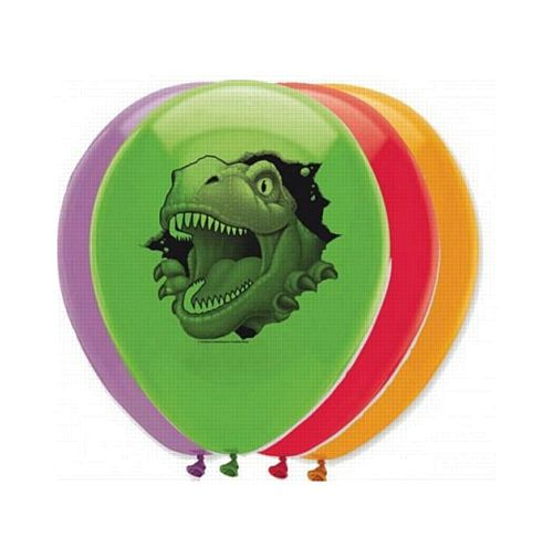 "Dino Blast Latex Balloons - 12"" - Pack of 6"