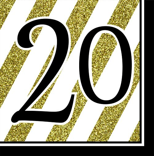"Black and Gold ""20th Birthday"" Luncheon Napkins - 33cm - Pack of 16"
