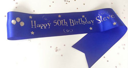Personalised Birthday Sash- Blue- 100mm