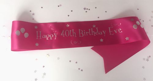 Personalised Birthday Sash- Hot Pink- 100mm