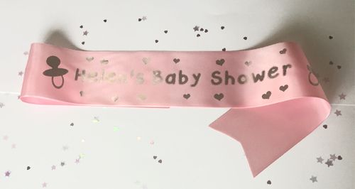 Personalised Baby Shower Sash- Pale Pink- 100mm