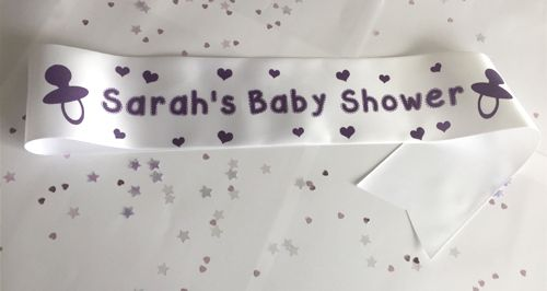 Personalised Baby Shower Sash- White- 100mm