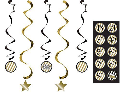 Black and Gold Birthday Whirl Decorations - 91cm - Pack of 5