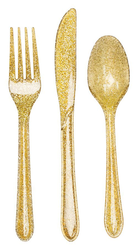 Gold Glitter Cutlery - Pack of 24
