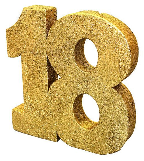 Gold Glitter Number 18 Table Decoration - 20cm