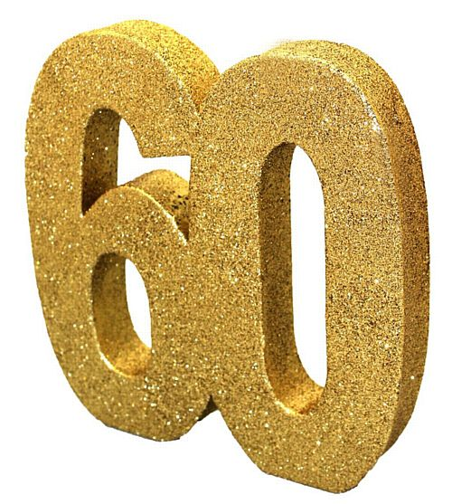 Gold Glitter Number 60 Table Decoration - 20cm