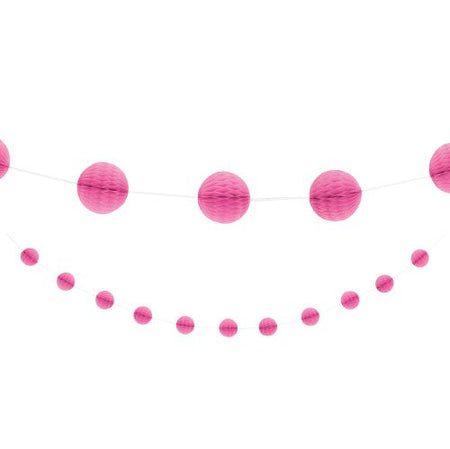 Hot Pink Honeycomb Ball Garland - 2.1m