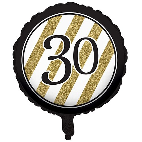 Black and Gold Foil 30th Birthday Balloon - 18""