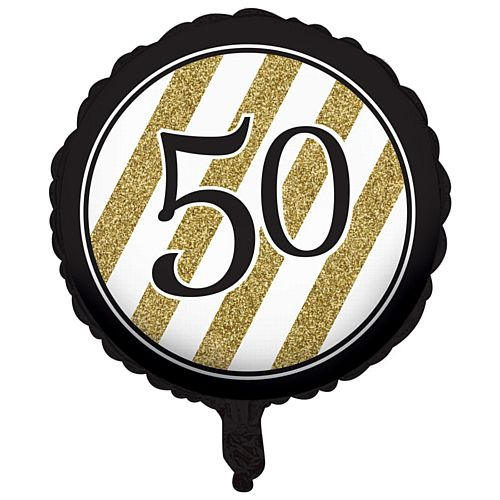 Black and Gold Foil 50th Birthday Balloon - 18""