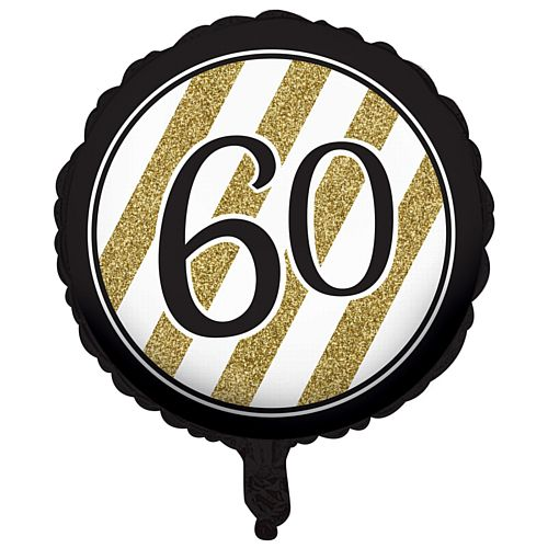 Black and Gold Foil 60th Birthday Balloon - 18""