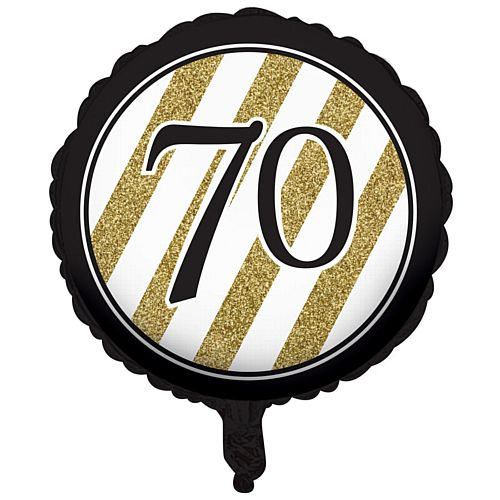 Black and Gold Foil 70th Birthday Balloon - 18""