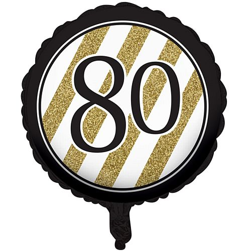 Black and Gold Foil 80th Birthday Balloon - 18""