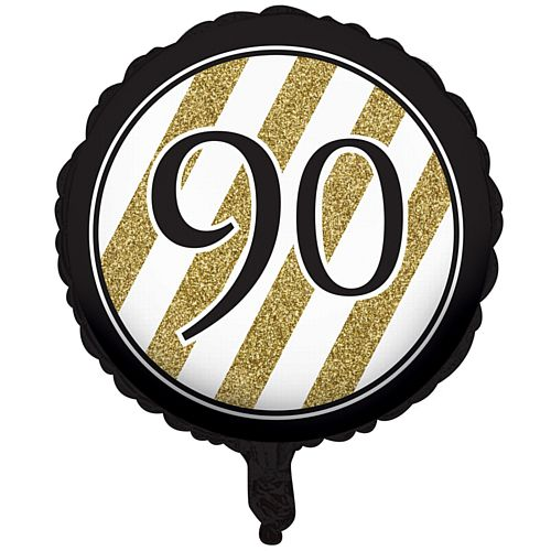 Black and Gold Foil 90th Birthday Balloon - 18""