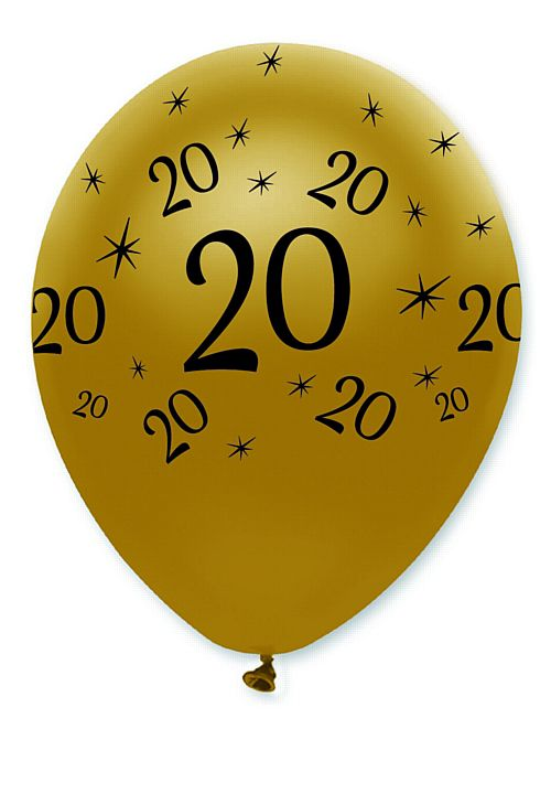"Black and Gold ""20th Birthday"" Latex Balloons - 12"" - Pack of 6"
