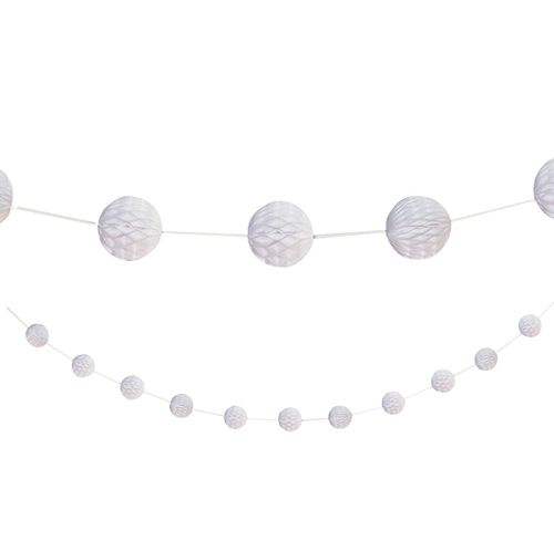 White Honeycomb Ball Garland - 2.1m