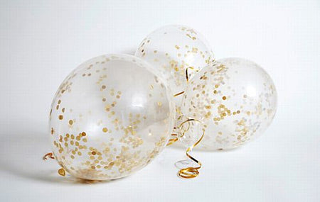Clear Latex Gold Confetti Balloons - 12