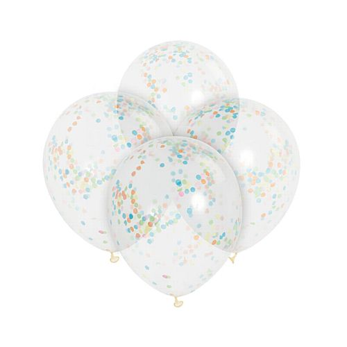 "Clear Latex Multi Colour Confetti Balloons - 12"" - Pack of 6"