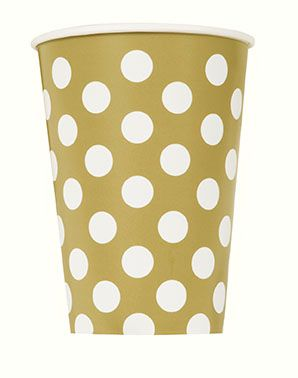 Gold Dots Paper Cups - 12oz - Pack of 6