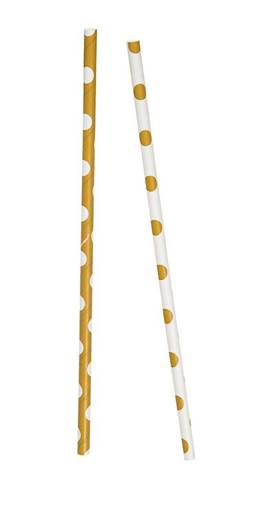 Gold Dots Paper Straws - Pack of 10