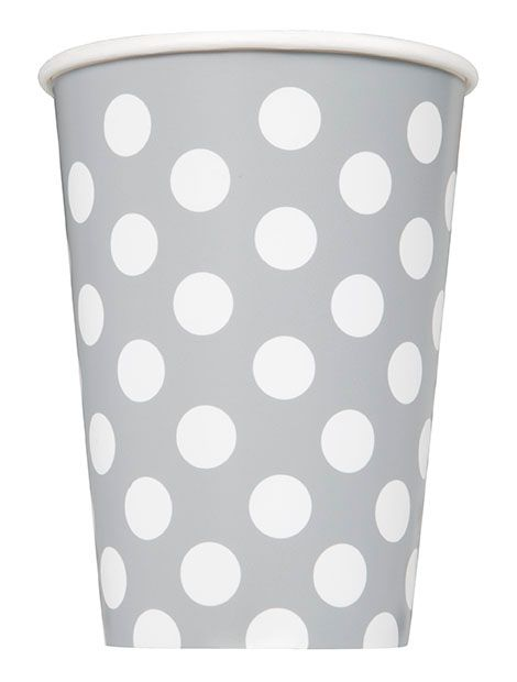 Silver Dots Paper Cups - 12oz - Pack of 6