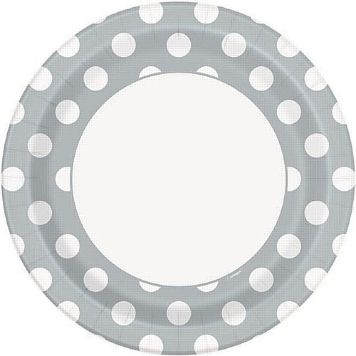 "Silver Dots Paper Plates - 9"" - Pack of 8"