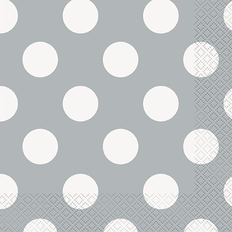 Silver Dots Luncheon Napkins - 33cm - Pack of 16