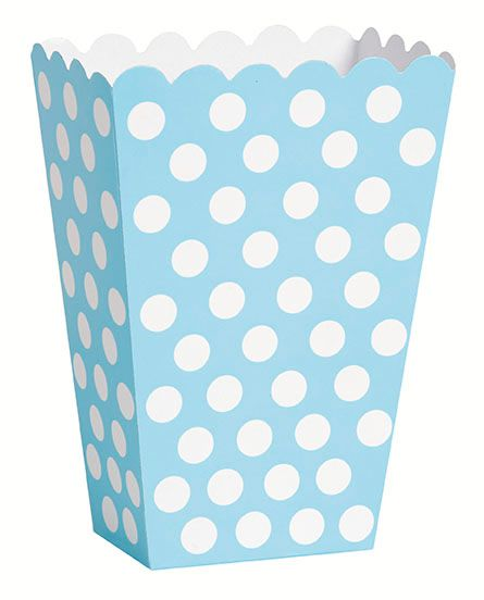 Pastel Powder Blue Dots Treat Boxes - Pack of 8