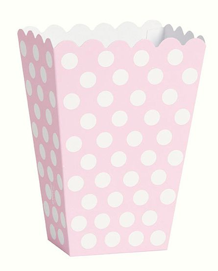 Pale Pink Dots Treat Boxes - Pack of 8