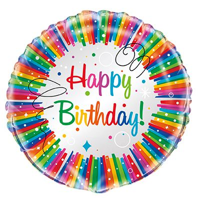 Rainbow Ribbons Birthday Foil Balloon - 18""