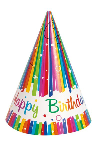 Rainbow Ribbons Birthday Party Hats - Pack of 8