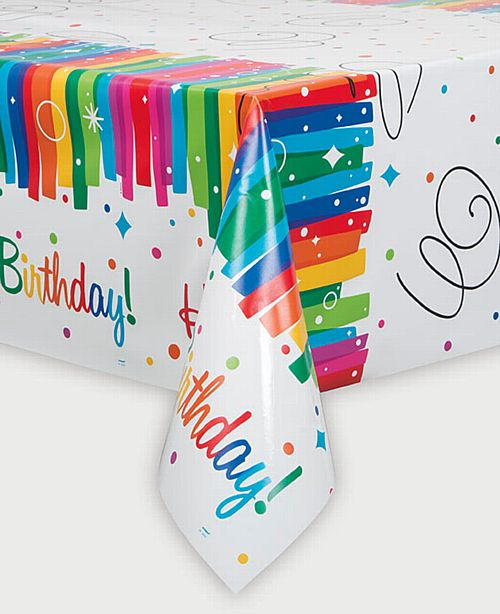 Rainbow Ribbons Birthday Tablecloth - Each