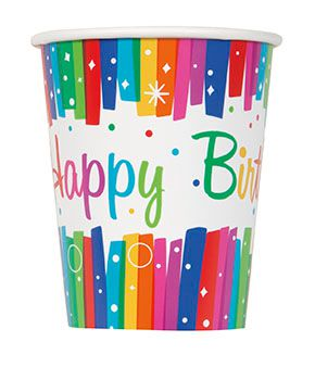 Rainbow Ribbons Birthday Cups - 9oz - Pack of 8