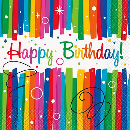 Rainbow Ribbons Birthday Luncheon Napkins - Pack of 16