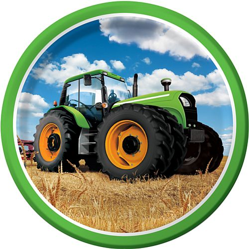 "Tractor Time Dinner Plates - 9"" - Pack of 8"